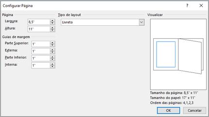 Caixa de diálogo Configurar página tipo de Layout