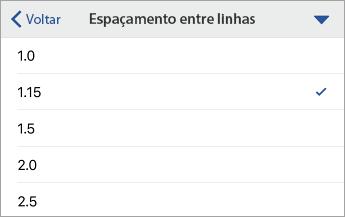 Comando Espaçamento entre Linhas, mostrando opções de formatação, com a opção 1.15 selecionada