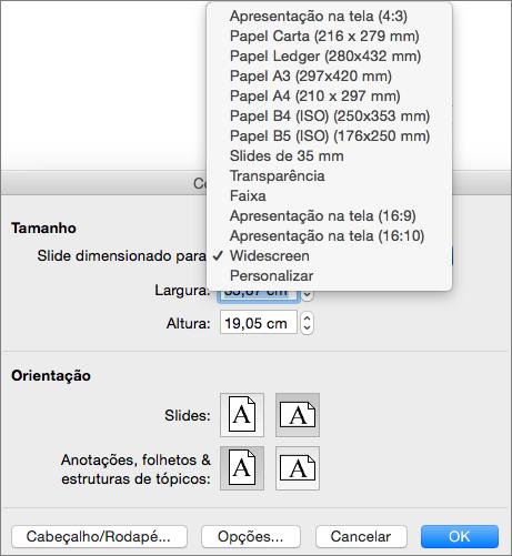 Caixa Configuração de Página com opções de tamanho de slide