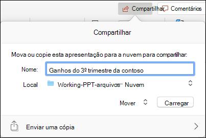 Caixa de diálogo de caixa de diálogo para carregar a apresentação no armazenamento em nuvem da Microsoft para compartilhamento contínuo.