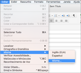 Menu Editar > Língua do Outlook 2016 para Mac
