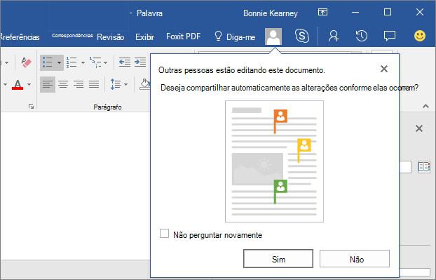 Captura de tela mostrando a outras pessoas está editando este documento