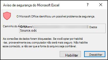 Aviso de segurança do Microsoft Excel-indica que o Excel identificou um potencial problema de segurança. Escolha habilitar se você confiar no local do arquivo de origem, desAbilite se não quiser.
