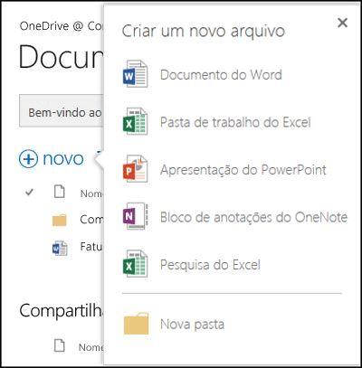 Opções do Office Online que você pode usar no botão Novo no OneDrive for Business