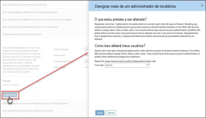 Ação expandida na ferramenta de pontuação de seguro do Office 365