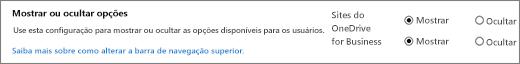 Seção de opções de Mostrar/ocultar configurações do SPO do SharePoint