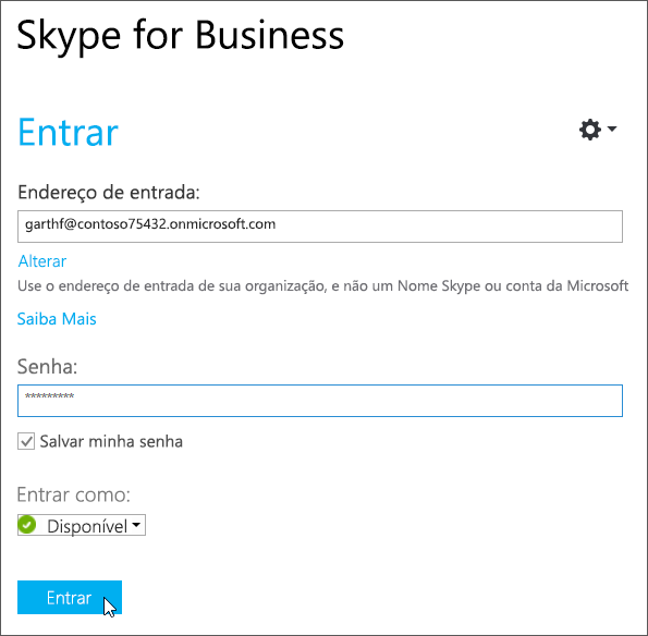 Caixa de diálogo Entrar do Skype for Business