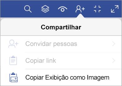Opções de compartilhamento no Visualizador do Visio para iPad