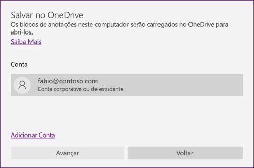 Captura de tela da solicitação Salvar no OneDrive no OneNote