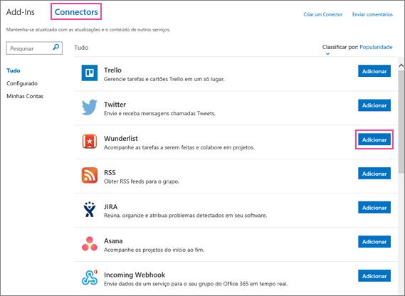Captura de tela dos serviços conectados disponíveis no Outlook 2016