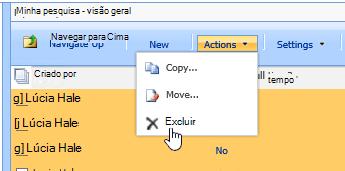 No botão ações, clique em Excluir para excluir os dados selecionados