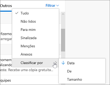 Filtragem de email no Outlook na Web