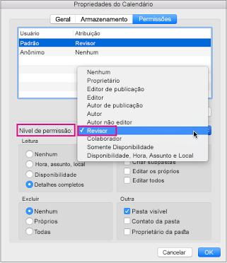 Caixa de diálogo de permissões de calendário com permissão de revisor realçado