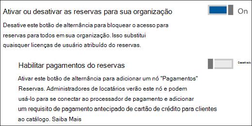 Captura de tela: mostrando o controle de administração do reservas na página de serviços e suplementos