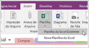 Captura de tela do botão Inserir Planilha no OneNote 2016.