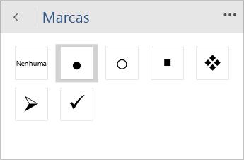 Captura de tela do menu Marcadores para escolher o estilo de marcador no Word Mobile.