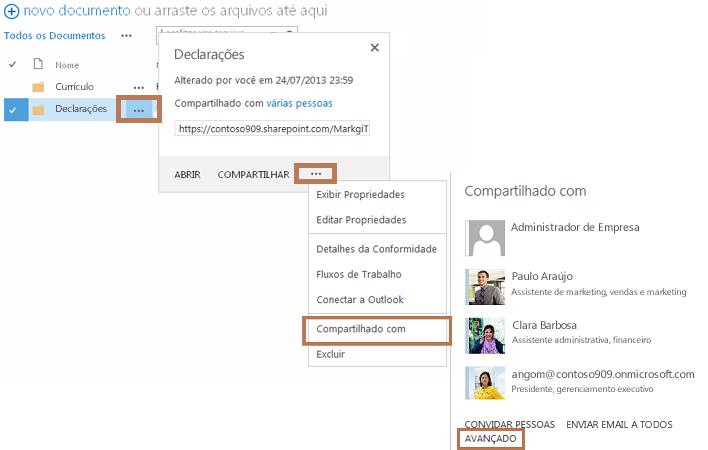 a corrente de comandos utilizada para acessar a página de permissões da subpasta