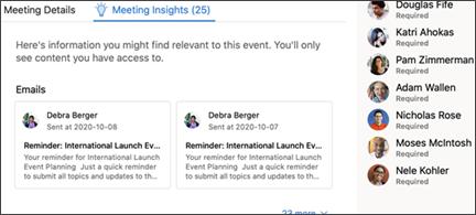 Visualização de insights de reunião.