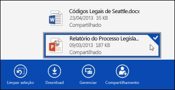 Um arquivo selecionado no OneDrive for Business