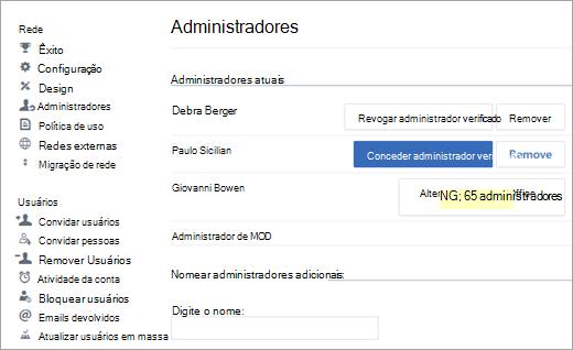 Captura de tela mostrando a lista de administradores