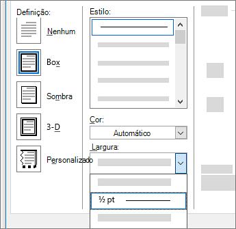 Configurações de borda de página
