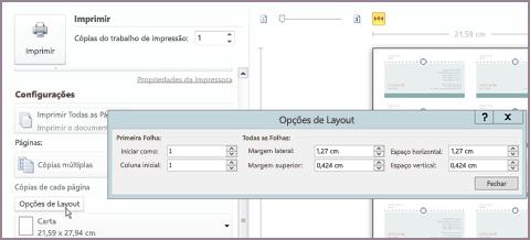 Opções de layout de impressão