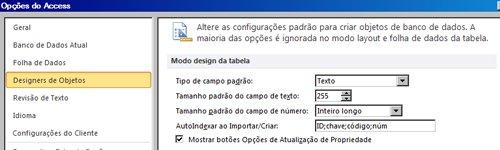 opções de configurações de design da tabela do access