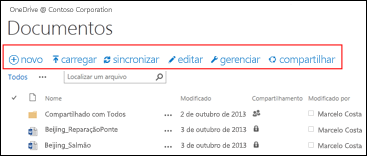 Usar a Barra de Comando Rápido no Office 365 para iniciar atividades na biblioteca de documentos do Site de equipe do SharePoint Online ou OneDrive for Business.