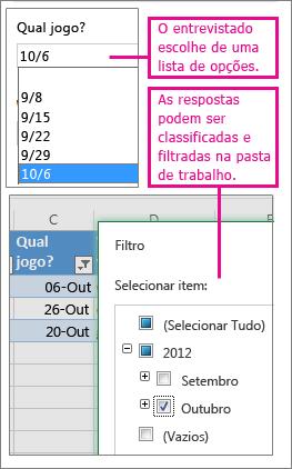Escolher em uma lista de opções facilita a classificação e a filtragem