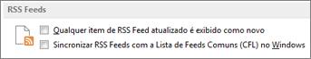 a seção de RSS Feeds da caixa de diálogo Opções
