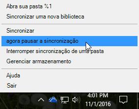 Caixa de diálogo de reparo que você recebe ao clicar com o botão direito do mouse no ícone de nuvem
