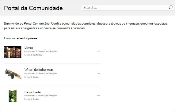 Exemplo de portal de comunidade