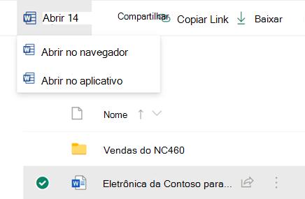 É possível abrir um arquivo no seu navegador ou em um aplicativo do Office desktop.
