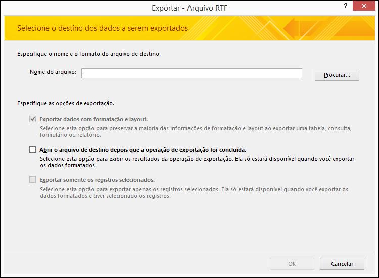 Selecione as opções de destino e exportação na caixa de diálogo Exportar – Arquivo RTF.