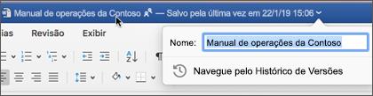 Clicar no título do documento permite renomear o arquivo ou ver o histórico de versões