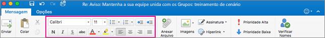 Opções de formatação na faixa de opções do Outlook para Mac