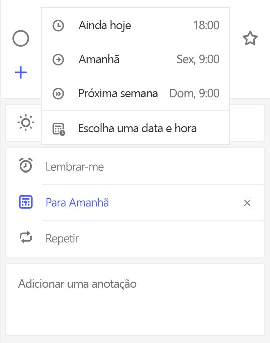 Captura de tela mostrando modo exibição Detalhe com Lembretes selecionado