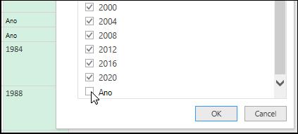 Power Query-editor de consultas > filtrar para limpar dados