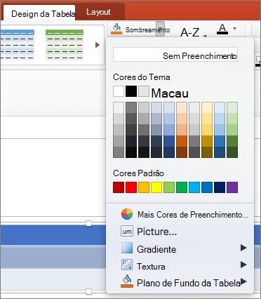 Captura de tela mostra a guia de Design da tabela onde a seta suspensa sombreamento está selecionada para mostrar as opções disponíveis, incluindo sem preenchimento, cores de tema, cores padrão, mais cores de preenchimento, imagem, gradiente, textura e plano de fundo da tabela.