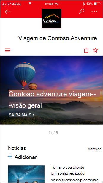 Site de comunicação do SharePoint em um dispositivo móvel