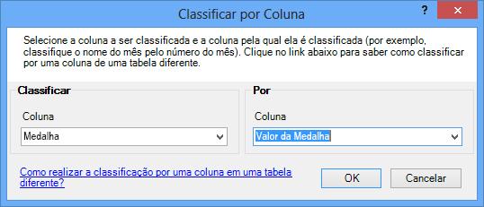 a janela Classificar por Coluna