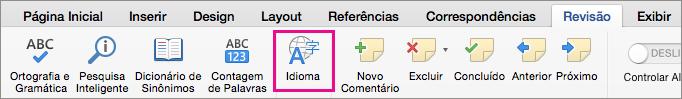 Na guia Revisão, clique em Idioma para definir o idioma do texto selecionado.