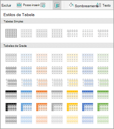 Modelos de tabela Android