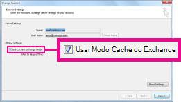 Caixa de seleção Usar o Modo Cache do Exchange na caixa de diálogo Alterar Conta
