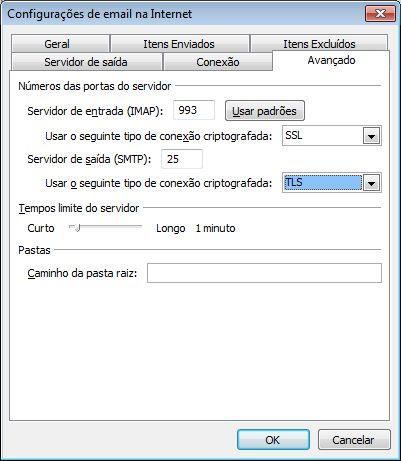 Configurações TLS e SSL do Outlook 2010