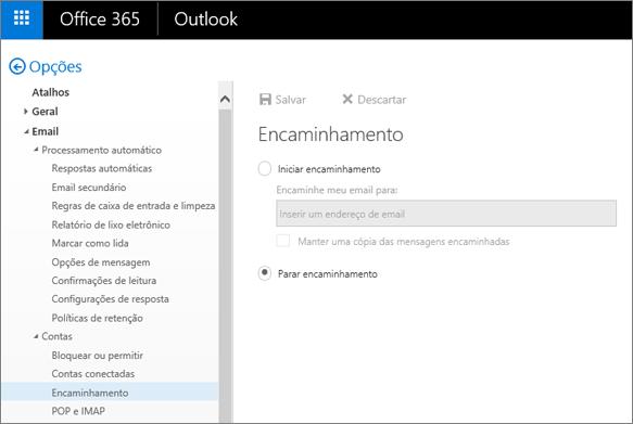 A captura de tela mostra a página Opção de encaminhamento com a opção Parar encaminhamento marcada.