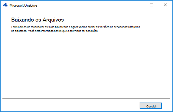 Caixa de diálogo de reparo da Sincronização Final do OneDrive for Business