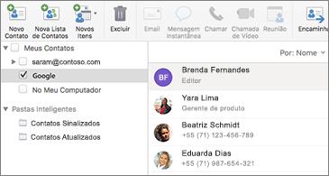 Lista de contatos mostrando os contatos do Google