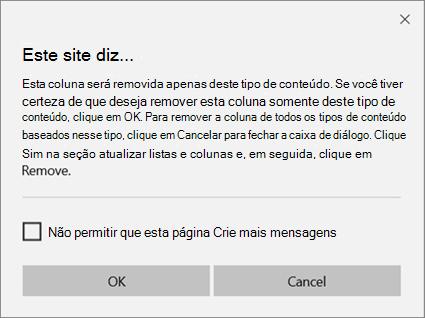 Solicitação de confirmação do SharePoint ao remover uma coluna de um tipo de conteúdo de site somente para um único tipo de conteúdo