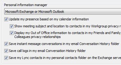 Opções do Gerenciador de informações pessoais do Lync 2010
